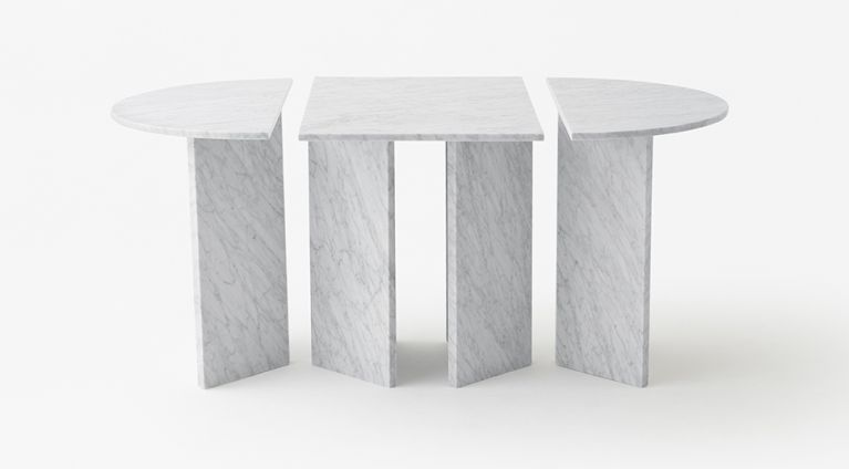 modular table in white carrara marble Split Joint