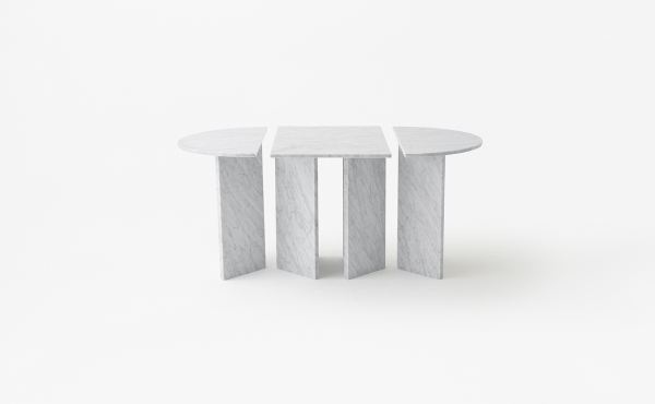 oval modular table in marble Split Joint