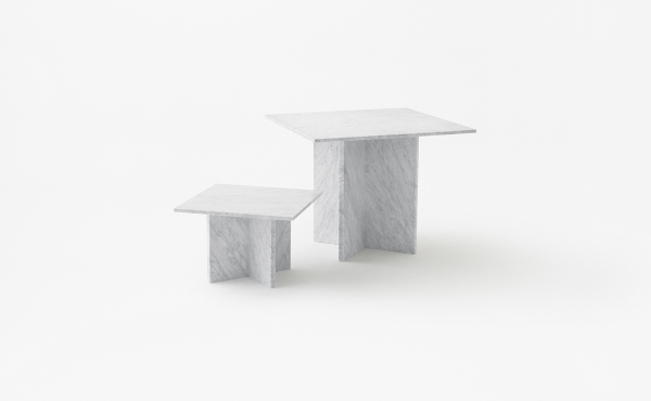 square modular table in marble Split Joint  design by Nendo Oki Sato