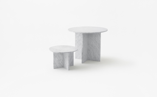 Split Joint round modular table in white carrara marble