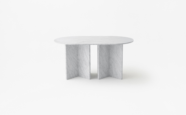Split Joint oval modular table in white carrara marble
