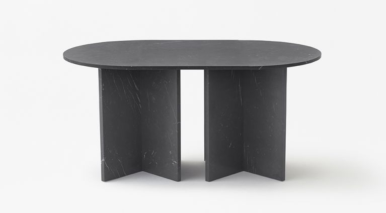 Split joint modular table in black marquina marble
