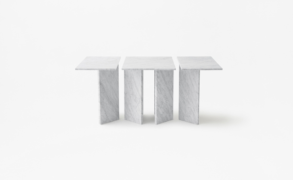 rectangular modular table in white carrara marble Split Joint