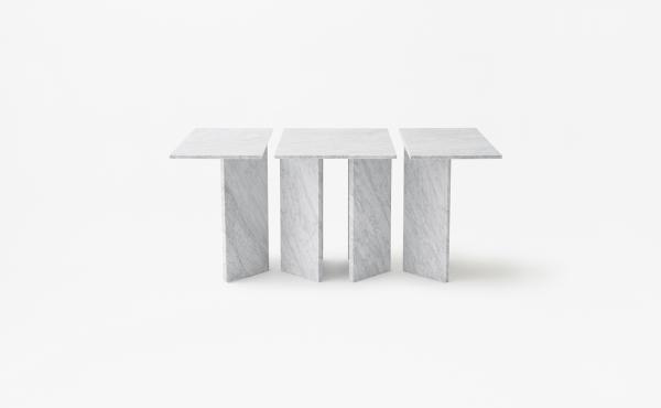 rectangular modular table in white carrara marble Split Joint
