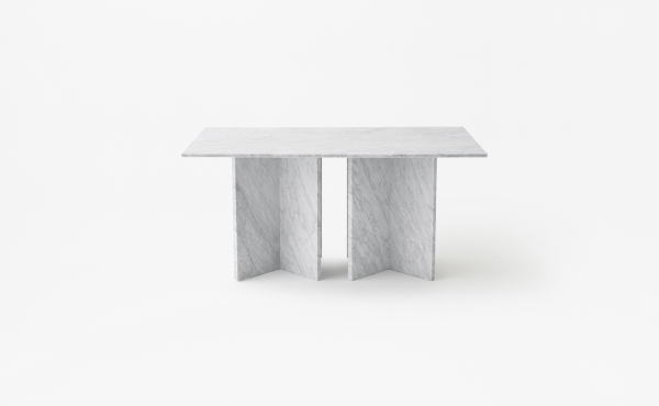 Split Joint rectangular modular table in white carrara marble