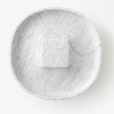 Underbowl L by nendo in White Carrara mrble, matt polished finish.