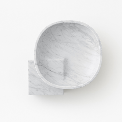 Underbowl S bowl in White Carrara marble