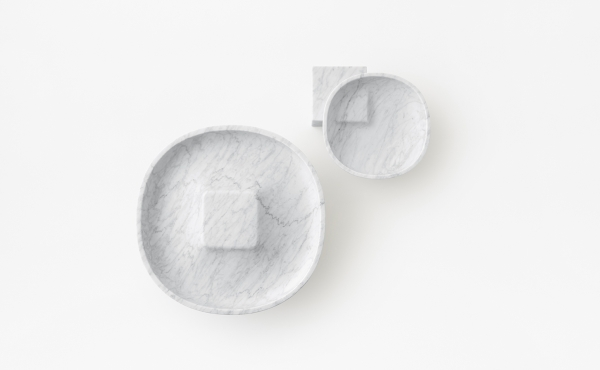 Underbowl S and Underbowl L bowl by nendo in White Carrara marble, matt polished finish.