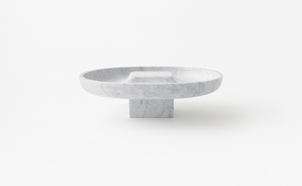 Underbowl L bowl in white marble design by nendo