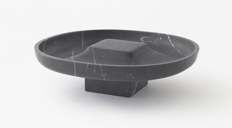 Underbowl L bowl by nendo in Black Marquina marble