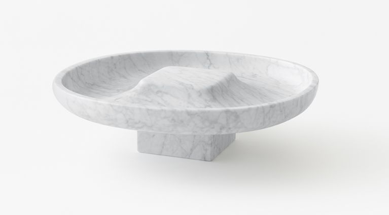 Underbowl L bowl in White Carrara marble