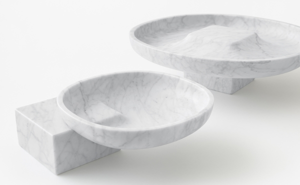 Underbowl S and Underbowl L bowl in White Carrara marble