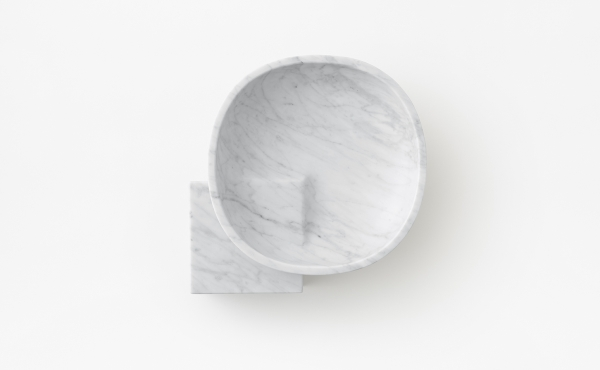 bowl design by nendo in white carrara marble