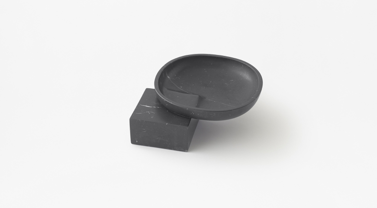 Underbowl S bowl by nendo in Black Marquina marble, matt polished finish.