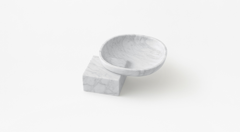 Underbowl S bowl by nendo in White Carrara marble