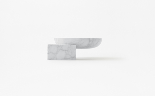 Underbowl S bowl by nendo in White Carrara marble, matt polished finish.