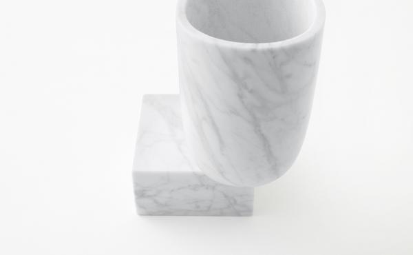 Undervase vase by nendo in White Carrara marble, matt polished finish.
