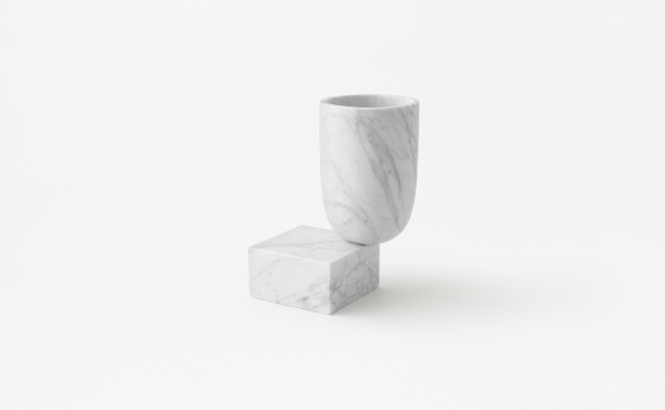 vase in white carrara marble design by nendo