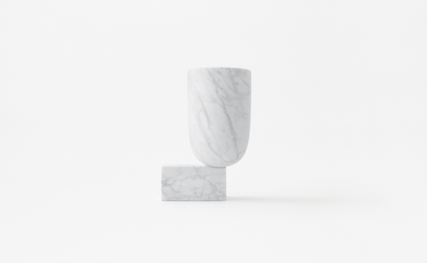 Undervase vase design by nendo in white marble