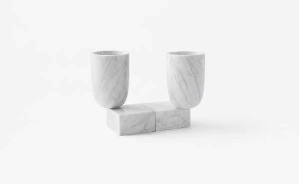 Undervase vase by nendo in White Carrara marble, matt polished finish.