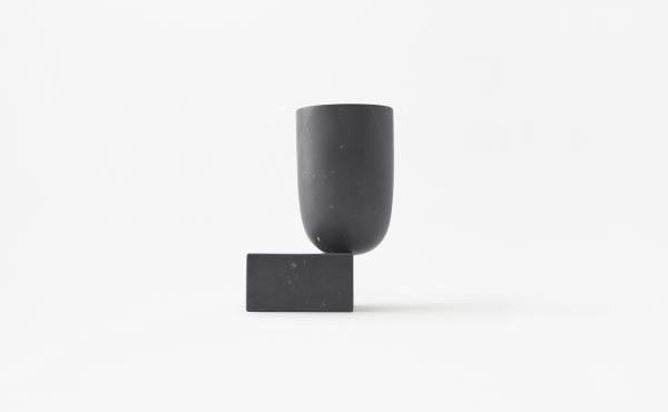 Undervase vase by nendo in Black Marquina marble, matt polished finish.