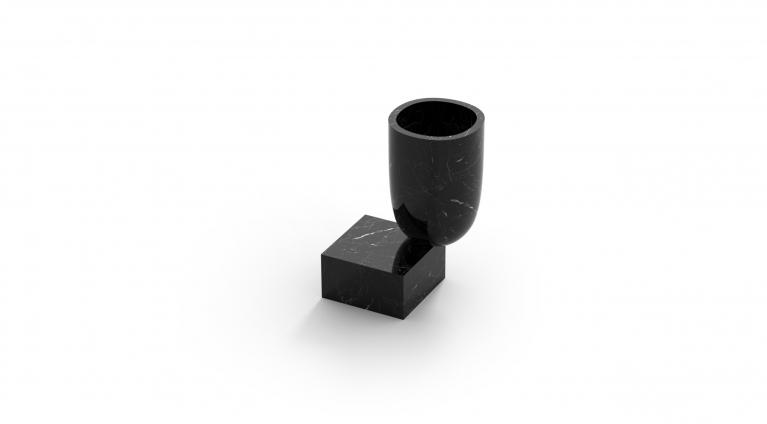 Undervase vase in black marquina marble