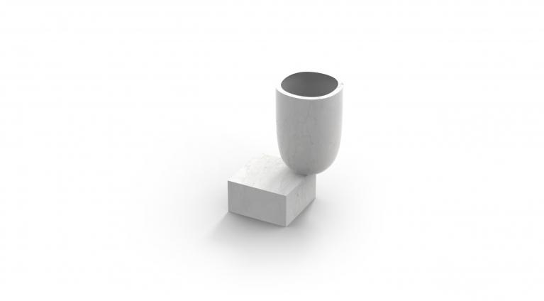 Undervase Vase in White Carrara marble, matt polished finish.
